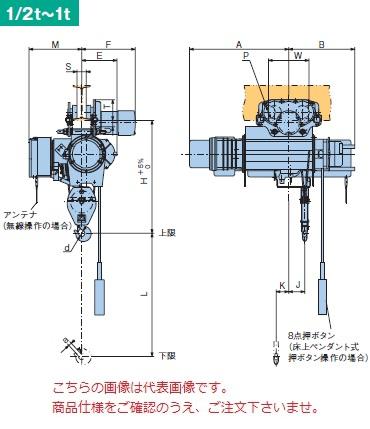 【直送品】 日立 普通形ホイスト Super Vシリーズ 0.5t/揚程 6m 無線式 (1/2M-T65-WM32) (巻上・横行インバータ・電動トロリ付)