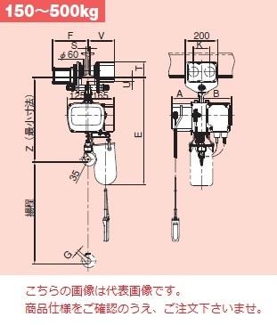 【直送品】 日立 モートルブロック Sシリーズ 500kg/揚程 6m ET形電動トロリ付 (1/2SNH2-1/2ET2-4PBNH) 《二重速形》
