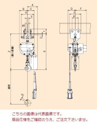 【直送品】 日立 ミニモートルブロック Eシリーズ 150kg/揚程 3m 手押トロリ付 (1/6E2-EP) (三相 200V 50/60Hz)