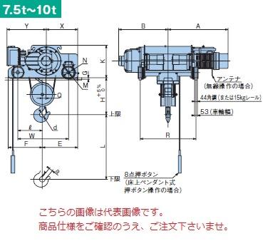 【直送品】 日立 ダブルレール形ホイスト Super Vシリーズ 10t/揚程 8m 無線式 (10D-T55-VM32) (巻上のみインバータ・電動トロリ付)