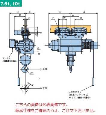 【直送品】 日立 普通形ホイスト Super Vシリーズ 10t/揚程 8m 無線式 (10M-T55-VM32) (巻上のみインバータ・電動トロリ付)
