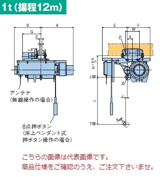 【直送品】 日立 ローヘッド形ホイスト Super Vシリーズ 1t/揚程 12m ペンダント式 (1HL-T55-W3) (巻上・横行インバータ・電動トロリ付)