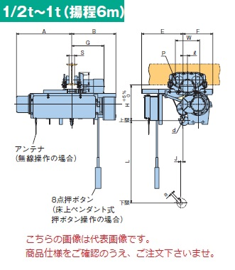 【直送品】 日立 ローヘッド形ホイスト Super Vシリーズ 1t/揚程 6m 無線式 (1L-T55-VM32) (巻上のみインバータ・電動トロリ付)