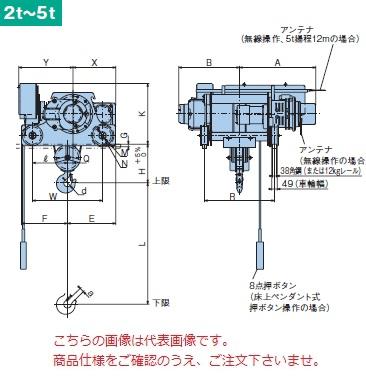 【直送品】 日立 ダブルレール形ホイスト Super Vシリーズ 2t/揚程 12m 無線式 (2HD-T55-WM32) (巻上・横行インバータ・電動トロリ付)