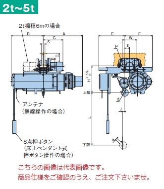 【直送品】 日立 ローヘッド形ホイスト Super Vシリーズ 2t/揚程 12m 無線式 (2HL-T55-WM32) (巻上・横行インバータ・電動トロリ付)