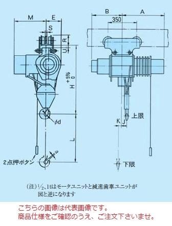 【直送品】 日立 普通形ホイスト Vシリーズ 2t/揚程 12m 手押トロリ付 (2HM-P75)