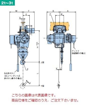 【直送品】 日立 普通形ホイスト Super Vシリーズ 2t/揚程 12m ペンダント式 (2HM-T75-V3) (巻上のみインバータ・電動トロリ付)