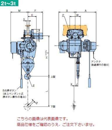 【直送品】 日立 普通形ホイスト Super Vシリーズ 2t/揚程 12m ペンダント式 (2HM-T75-W3) (巻上・横行インバータ・電動トロリ付)