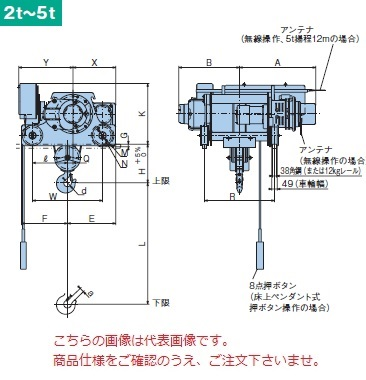【代引不可】 日立 ダブルレール形ホイスト Super Vシリーズ 3t/揚程 6m ペンダント式 (3D-T55-W3) (巻上・横行インバータ・電動トロリ付) 【メーカー直送品】