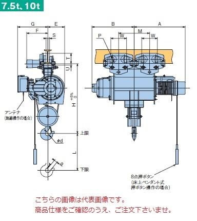 【直送品】 日立 普通形ホイスト Super Vシリーズ 7.5t/揚程 12m ペンダント式 (7.5HM-T55-W3) (巻上・横行インバータ・電動トロリ付)