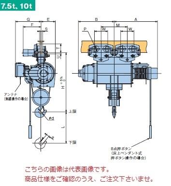 【直送品】 日立 普通形ホイスト Super Vシリーズ 7.5t/揚程 8m ペンダント式 (7.5M-T55-V3) (巻上のみインバータ・電動トロリ付)