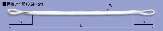 キトー ケミプロスリング(両端アイ形) CS016 (CS形 75mm×4.5m) 《繊維スリング》