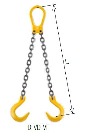 【直送品】 キトー ダブルスリング D-VD-VF 16mm リーチ2.5m 《キトーチェンスリング100【標準セット品】(ピンタイプ)》