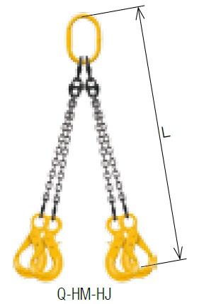 【直送品】 キトー クウォードスリング Q-HM-HJ-M 13mm リーチ2.0m 《キトーチェンスリング100【標準セット品】(アイタイプ)》