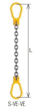 【直送品】 キトー シングルスリング S-VE-VE 16mm リーチ2.5m 《キトーチェンスリング100【標準セット品】(ピンタイプ)》