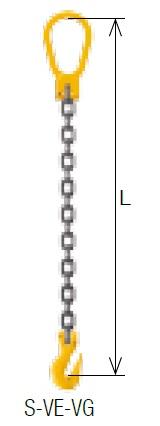 【直送品】 キトー シングルスリング S-VE-VG 16mm リーチ2.5m 《キトーチェンスリング100【標準セット品】(ピンタイプ)》