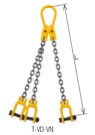 キトー トリプルスリング T-VD-VN 10mm リーチ1.5m 《キトーチェンスリング100【標準セット品】(ピンタイプ)》