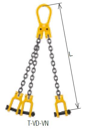キトー トリプルスリング T-VD-VN-M 8mm リーチ1.5m 《キトーチェンスリング100【標準セット品】(ピンタイプ)》