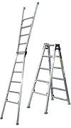 【直送品】 ナカオ (NAKAO) 四脚調節式 脚異長はしご兼用脚立 DW-120 ピッチ(階段用) 【法人向け、個人宅配送不可】 【大型】