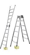 【直送品】 ナカオ (NAKAO) 四脚調節式 はしご兼用脚立 JQN-120 ケンヨウキャタツ のび太郎 【法人向け、個人宅配送不可】 【大型】