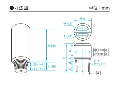 新潟精機 ネジピンゲージ RA8125-2 (250030)