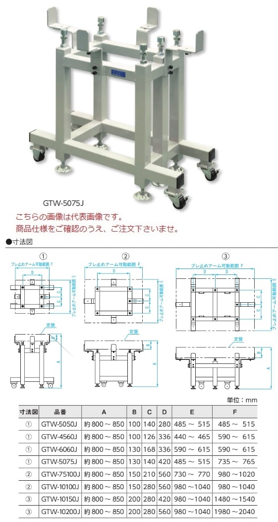 【直送品】 新潟精機 石定盤架台 GTW-10150J (151259) (キャスター付タイプ) 【大型】
