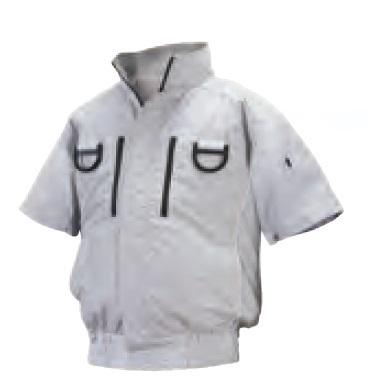 【代引不可】 NSP 【服のみ・半袖】オリジナル空調服 ND-113 シルバー 3Lサイズ (立ち襟・チタン加工〈フルハーネス仕様〉) 【メーカー直送品】