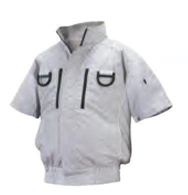 【直送品】 空調服 ND-113A シルバー 4Lサイズ (フルハーネス 前ポケ半袖・チタン・立ち襟 バッテリーセット) 『肩補強あり』