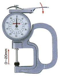 PEACOCK(尾崎製作所) ダイヤルシックネスゲージ (厚み測定器) 0.01mmタイプ G-2