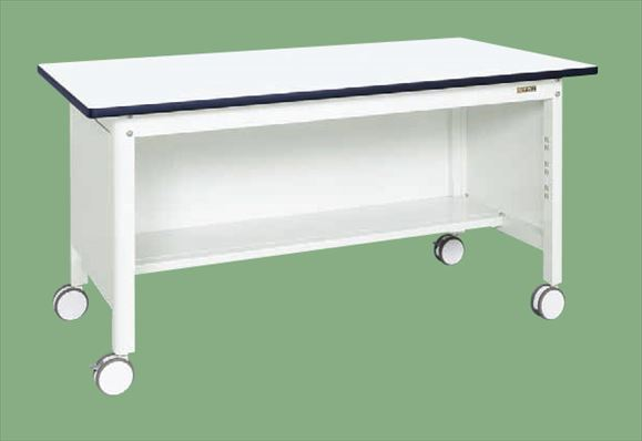 【直送品】 サカエ (SAKAE) 中量作業台(扇形支柱・移動式・三方パネル) KF-69PRDW (035045) 《パールホワイト・色管理》 【大型】