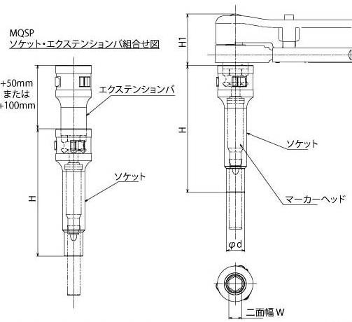 東日製作所 (TOHNICHI) MPQL/MQSPソケット(mm) 4MH-19