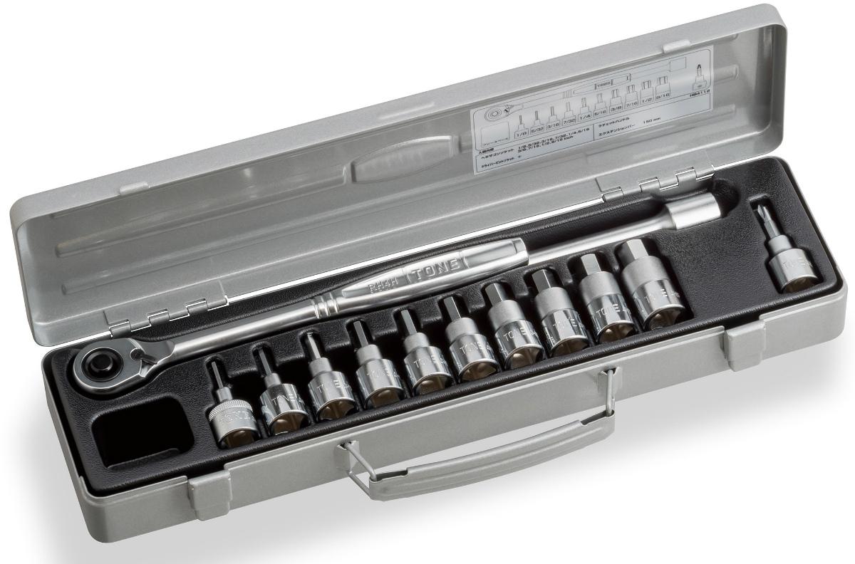 """TONE (トネ) ヘキサゴンソケットレンチセット HB4112 〈差込角 12.7mm(1/2"""")〉"""