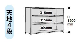 【代引不可】 山金工業 ヤマテック ラック 1.2S4545P-4W 【メーカー直送品】