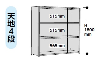 【直送品】 山金工業 ラック 1.2S6560P-4W 【法人向け、個人宅配送不可】 【大型】