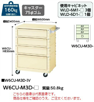 【直送品】 山金工業 ヤマテック ワゴン W6CU-M3D-G 【法人向け、個人宅配送不可】