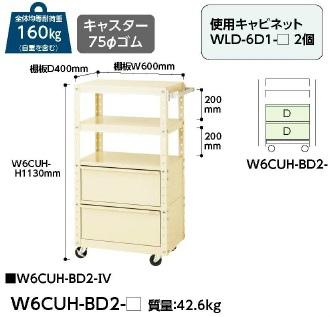 【直送品】 山金工業 ワゴン W6CUH-BD2-IV 【法人向け、個人宅配送不可】 【大型】