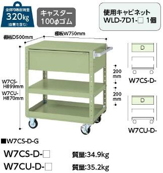 【直送品】 山金工業 ワゴン W7CS-D-G 【法人向け、個人宅配送不可】 【大型】