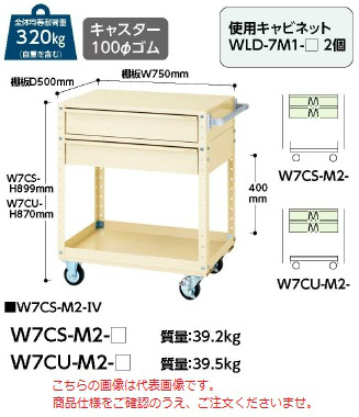 【直送品】 山金工業 ヤマテック ワゴン W7CU-M2-G 【法人向け、個人宅配送不可】
