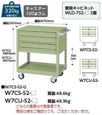 【代引不可】 山金工業 ヤマテック ワゴン W7CU-S2-G 【法人向け、個人宅配送不可】 【メーカー直送品】