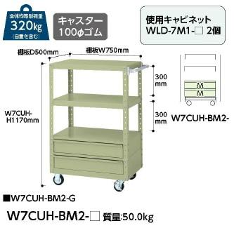 【直送品】 山金工業 ヤマテック ワゴン W7CUH-BM2-G 【法人向け、個人宅配送不可】