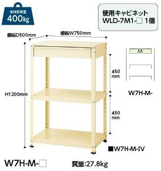 【直送品】 山金工業 ヤマテック ワゴン W7H-M-IV 【法人向け、個人宅配送不可】