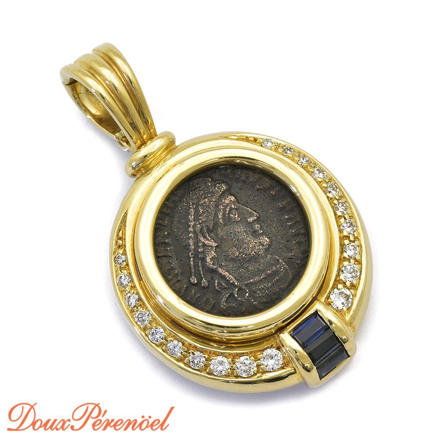 【中古】古代ローマ コイン ダイヤ サファイア 18金 ペンダントトップ K18YG レディース