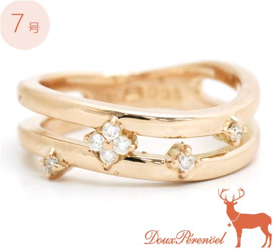 【中古】ダイヤ フラワー リング 指輪 K18PG D:0.08 7号【花】【ダイヤモンド】【18金ピンクゴールド】【diamond】【レディース】【女性】