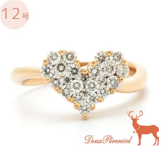 【中古】ダイヤ ハート リング 指輪 K18PG D:0.50 12号 【ダイヤモンド】【18金ピンクゴールド】【レディース】【女性】
