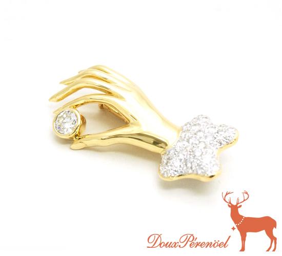 【中古】ダイヤ ブローチ 750YG D:0.35 D:0.56 【18金イエローゴールド】【ダイヤモンド】【質屋】【レディース】【女性】