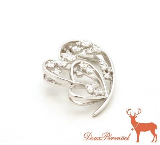 【中古】ダイヤ ハート ペンダントトップ K18WG D:0.86 【18金ホワイトゴールド】【ダイヤモンド】【レディース】【女性】