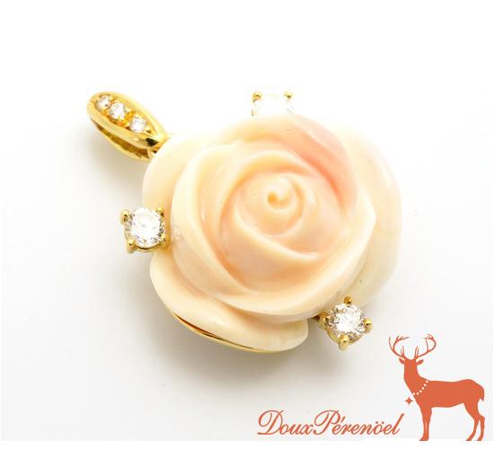 【中古】シェル ペンダント K18YG 薔薇 花 フラワー【18金イエローゴールド】【レディース】【女性】