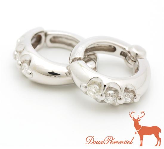 【中古】ダイヤ フープ イヤリング K18WG D:0.10【18金ホワイトゴールド】【ダイヤモンド】【レディース】【女性】