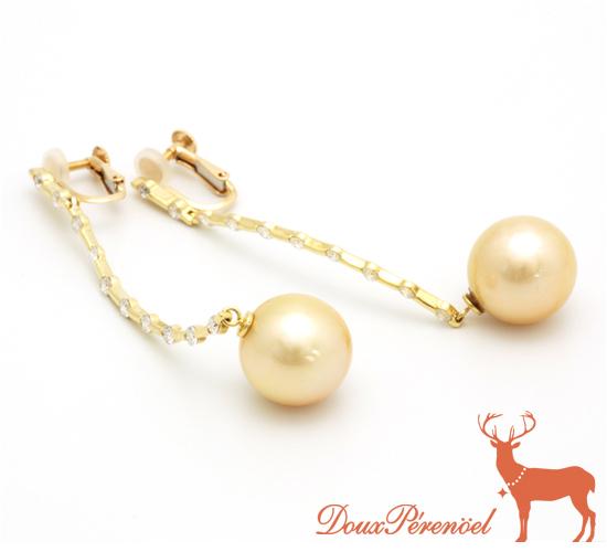 【中古】南洋ゴールデンパール ダイヤ イヤリング K18YG【真珠】【18金イエローゴールド】【レディース】【女性】