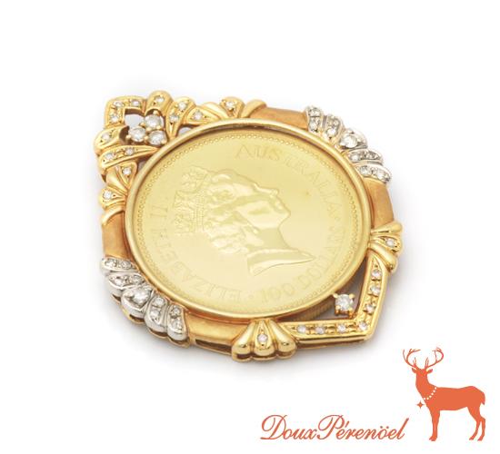 【中古】エリザベス女王 18金 1ozコイン ダイヤ ペンダントトップ Pt900/K18YG D:0.71